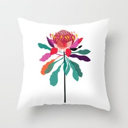 Australian Native; Waratah Throw Pillow