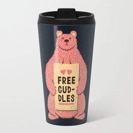 Cute Bear Free Cuddles Pink Travel Mug