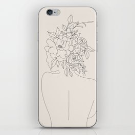 Woman with Flowers Minimal Line I iPhone Skin