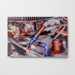 Car Engine - Blue and Red Metal Print