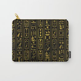 Egyptian Ancient Gold hieroglyphs on black Carry-All Pouch