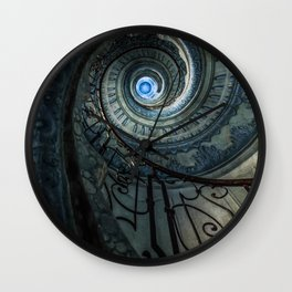 Decorated spiral staircase in blue tones Wall Clock