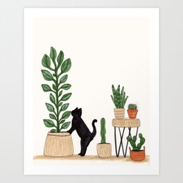 Curious Little Black Cat Art Print