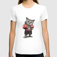 boxing T-shirts featuring BOXING CAT by ADAMLAWLESS
