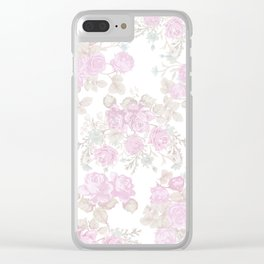 Vintage chic pastel pink green romantic roses floral Clear iPhone Case