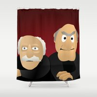muppets Shower Curtains featuring Statler & Waldorf - Muppets Collection by Bryan Vogel