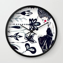 Diamonds and Flowers_01 Wall Clock