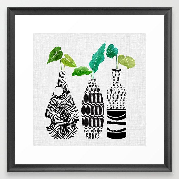 Black and White Tribal Vases Framed Art Print