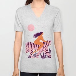 Tiger and woman Unisex V-Neck