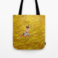 abigail larson Tote Bags featuring Abigail dreaming by Eli Gross Art