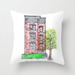 DC Row House No. 3 II Capitol Hill Throw Pillow