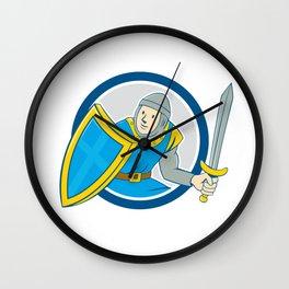 Medieval Knight Shield Sword Circle Cartoon Wall Clock