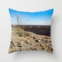 Lone Ocotillo Reaching up to the Blue Sky in front of a Gorge in the Anza Borrego Desert State Park Throw Pillow