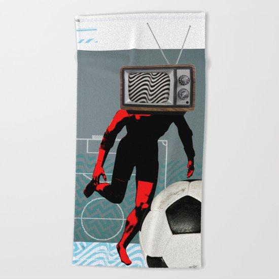 TV Football Run Beach Towel