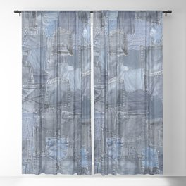 Blue Jeans Pocket Patchwork Pattern Sheer Curtain