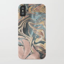 Liquid Gold and Rose Gold Marble iPhone Case