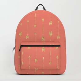 Coral And Gold Glitter Arrow Pattern Backpack