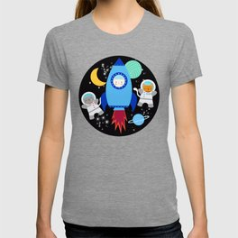 Space Cats Astronaut Kittens Rocket Ship Pattern T-shirt