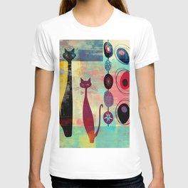 Mid-Century Modern 2 Cats - Graffiti Style T-shirt
