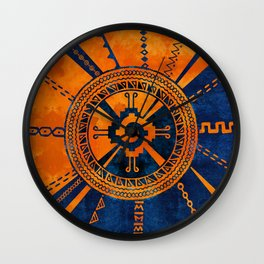 Hunab Ku Mayan symbol Orange and Blue Wall Clock