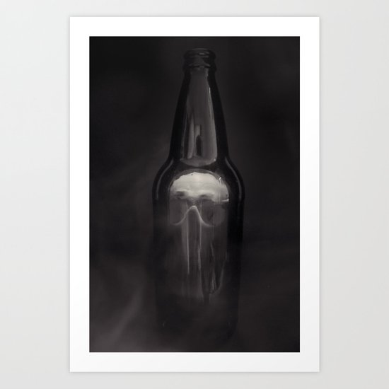 Skull in a Bottle Police Black and White Photography Art Print