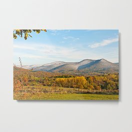 Autumnally valley and snowy mountains Metal Print