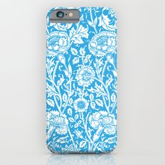 """William Morris Floral Pattern   """"Pink and Rose"""" in Turquoise Blue and White iPhone 6s Slim Case"""