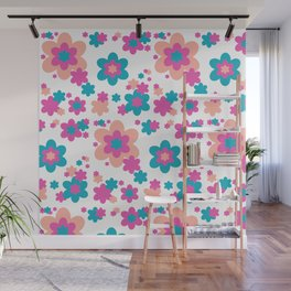 Teal Blue, Hot Pink, and Coral Floral Wall Mural