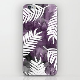 White Palm Leaves  |  Black And Purple Wash Background iPhone Skin