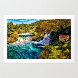 Beautiful Skradinski Buk Waterfalls Croatian Landscape Art Print