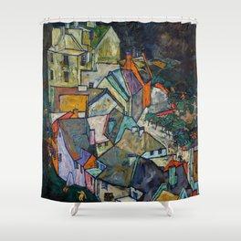 """Egon Schiele """"Stadtende Häuserbogen III"""" Shower Curtain"""