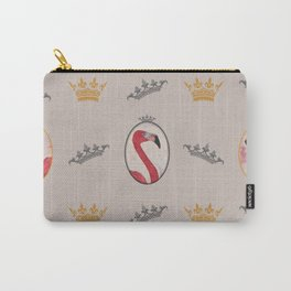the royal pink flamingo king and queen pattern warm grey Carry-All Pouch