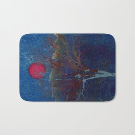 Abstract watercolor landscape with tree Bath Mat