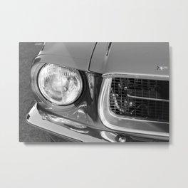 Vintage american car detail - Black & White Metal Print