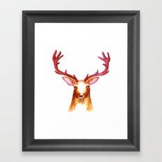 Deer Watercolor Print Framed Art Print