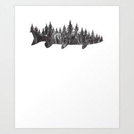 Musky Pine Forest Treeline - Outdoor Fishing Angler T-Shirt Art Print