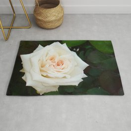 White Rose With Natural Garden Background Rug