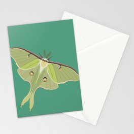 Luna Moth Drawing on Turquoise Background Stationery Cards