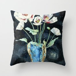 Crystal Dream and Reality, White Poppy Magic Throw Pillow