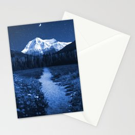 Mountain Path and Forest-Blue Stationery Cards