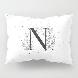 Black Letter N Monogram / Initial Botanical Illustration Pillow Sham