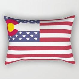 Colorado and American Flag Mashup Rectangular Pillow