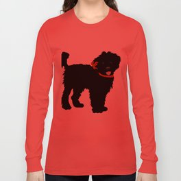 Black Labradoodle dog Long Sleeve T-shirt