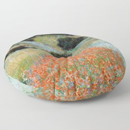 Poppy Field in a Hollow near Giverny by Claude Monet Floor Pillow