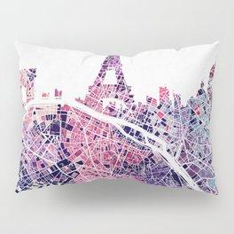 Paris Skyline + Map #1 Pillow Sham