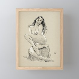 Model pose sketch 03 Framed Mini Art Print