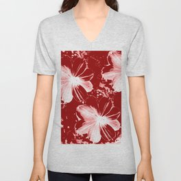 Burgundy Flowers Unisex V-Neck