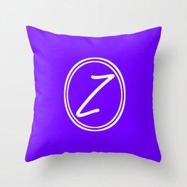 Monogram - Letter Z on Indigo Violet Background Throw Pillow