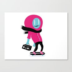 Alien on skateboard Canvas Print