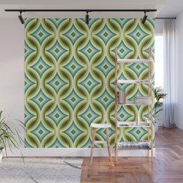 Green, Turquoise & Brown Circular Geometric Retro Pattern Wall Mural